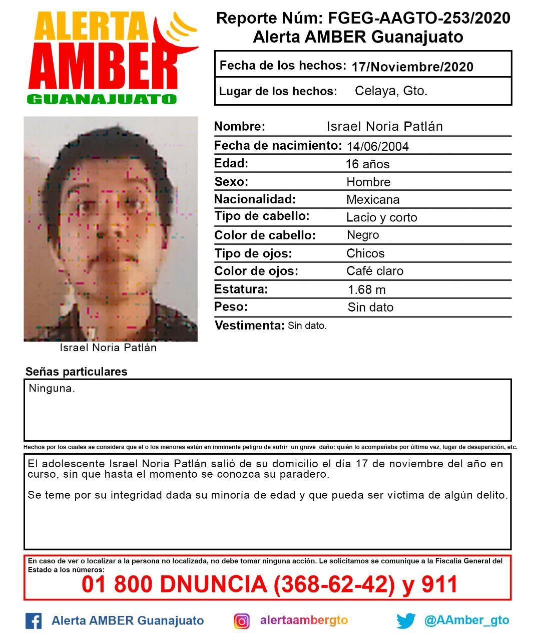 ¡AYUDA A ENCONTRARLO! ALERTA AMBER GUANAJUATO